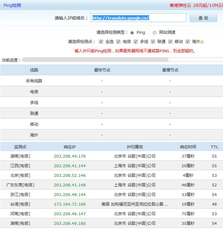 通过站长之家超级Ping工具查询谷歌翻译